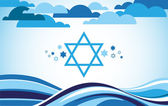 Abstract israel flag as sea and blue sky — Stock Vector