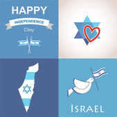 Four icons of Israel — Stock Vector