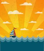 Say Hello to Summer, retro illustration of a boat and wavy sea — Stock Vector