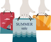 Hands holding shopping bags to promote sales. summer sale — Stockvector