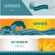 Three banners of summer time and seasonal sale — Stock Vector