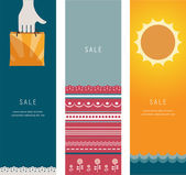 Three Summer Sales Banners — Stock Vector
