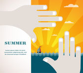 Summer view of a sea inside hand frame . illustration — Stock Vector