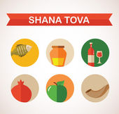 Six icons for Rosh Hashana, Jewish holiday.  Happy New Year in Hebrew — Stok Vektör