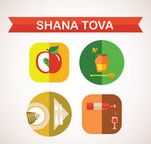 Six icons for Rosh Hashana, Jewish holiday. Happy New Year in Hebrew — Stock Vector