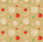 Illustration of Rosh Hashanah background with pomegranates and apples — Stock Vector