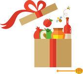 Open present box for Rosh Hashanah — Stock Vector