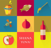 Set of icons for Jewish holiday Rosh Hashana.   Happy New Year in Hebrew — Stock Vector