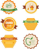 Set of six icons for Rosh Hashana jewish holiday.  Happy New Year in Hebrew — Stock Vector