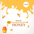 Natural honey. Honey streams, jar and bees isolated on white — Stock Vector