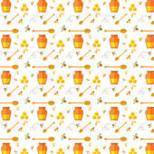 Seamless pattern with bee and honey — Stock Vector
