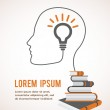 The concept of modern education. Infographic template with profile head, lightbulb and books — Stock Vector #50812647