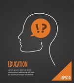 Human head with question and answer marks on  black background. Education concept — Stock Vector