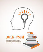 The concept of modern education. Infographic template with profile head, lightbulb and books — Stok Vektör