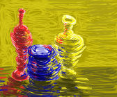 Colored clay jugs — Stock Photo