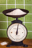 Weighing Rice with Mechanical Scales — Stock Photo