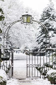Entrance Gate to Snowy Park — Stock Photo