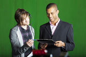 Presenter and Floor manager in TV Studio — Stock Photo