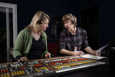 Vision Mixer and Director in TV Gallery — Stock Photo