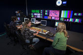 Crew in TV Broadcast Gallery — Stock Photo