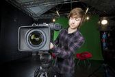 Man preparing a TV Studio Camera — Stock Photo