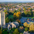 Aerial view of a British village with church and school — Stock Photo
