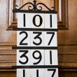 Stock Photo: Hymn Numbers in Church