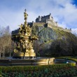 Ross Fountain and Edinburgh Castle - Stock Photo