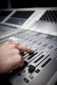 Hand on Sound Mixing desk in Television Gallery — Stock Photo