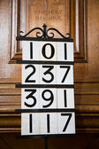 Hymn Numbers in Church — Stock Photo