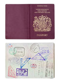 UK Passport inside and outside — Stock Photo