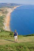 Apreciando a vista da costa de dorset — Foto Stock