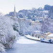 Frozen Canal, Bath, Uk - Stock Photo