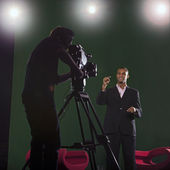 Presenter and Studio Lights — Stok fotoğraf