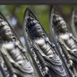 Small Bodhisattva statues at Temple in Kyoto - Stock Photo