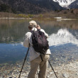 Man Photographing Mountain Scenery - Stock Photo