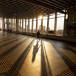 Silhouette of Passenger in Modern Train Station — Stock Photo