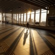 Silhouette of Passenger in Modern Train Station - Stock Photo
