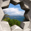 Star Framed View of Bosphorus from Topkapi - Stock Photo