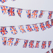 Rows of UK Union Flag Bunting - Stock Photo