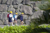 School Children Wearing Hard Hats, Sakura-jima, Japan — Stock Photo