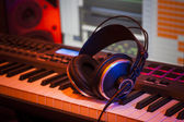 Headphones in a Home Studio — Stock Photo