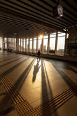 Silhouette of Passenger in Modern Train Station — Stockfoto