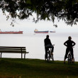 Vancouver cyclists resting — Stock Photo