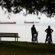 Stock Photo: Vancouver cyclists resting