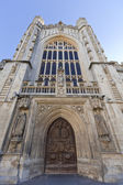 Exterior of west entrance to Bath Abbey, UK — Stock Photo