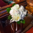 Wedding Bouquet on Pews — Stock Photo