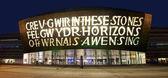 Walijski-millennium centrum w nocy — Zdjęcie stockowe