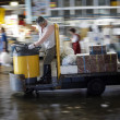 Tsukiji Fish Market Worker on Cart — Stock Photo