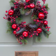 Christmas Wreath on a Pale Green Door — Stock Photo #31149959